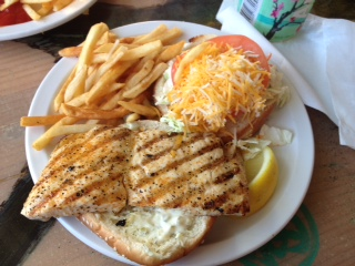 "Our ""last supper"" on Maui - a Mahi burger from Paia Fish Market, the world's best!"