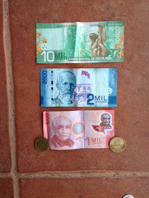 Costa Rican bills - currency is colones