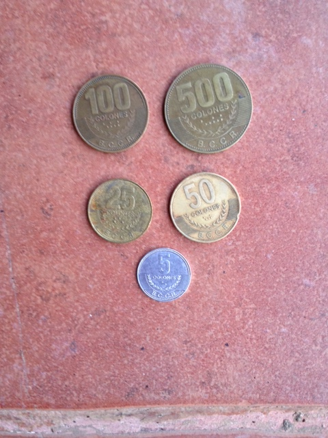 Costa Rican coins - currency is colones