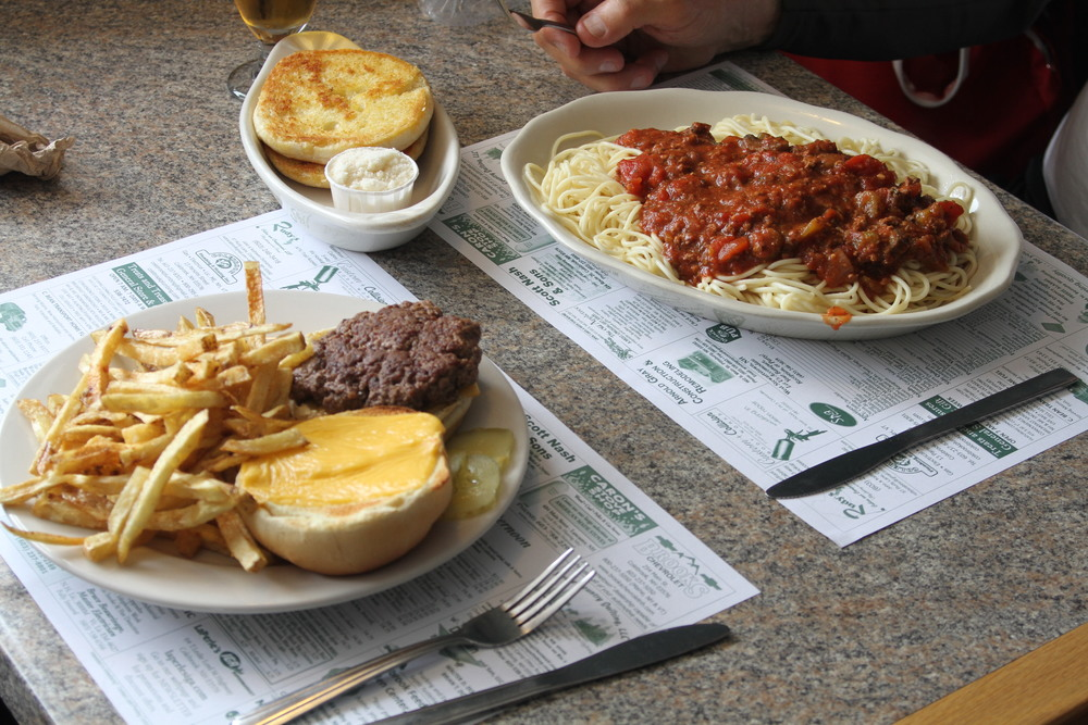 Dad opted for spaghetti and meat sauce with garlic bread. I went for burger and fries. Life-giving hot lunch on Day 2 of the trek a couple of miles southeast of the Canadian/US border.