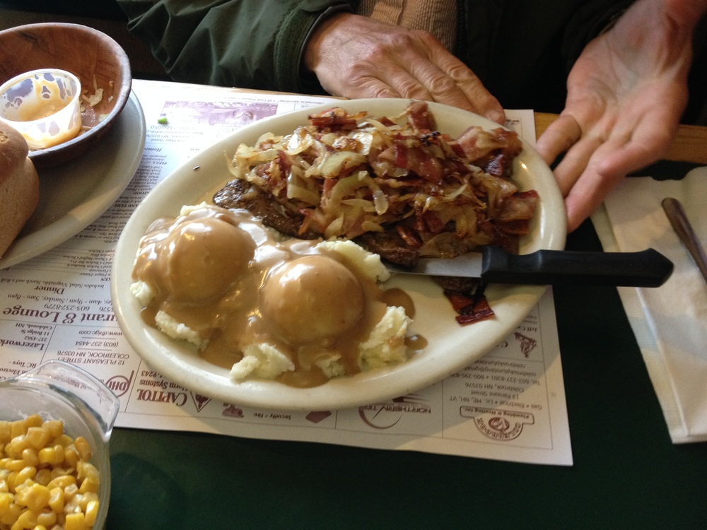 Day 2 - Supper in Colebrook NH. June 1st ended up being THE hot food fill-up/fuel-up day of the entire trek. We had a big hot lunch. We had a big hot supper. Unrivaled and nourishing on more than one level. Dad needed every bite.