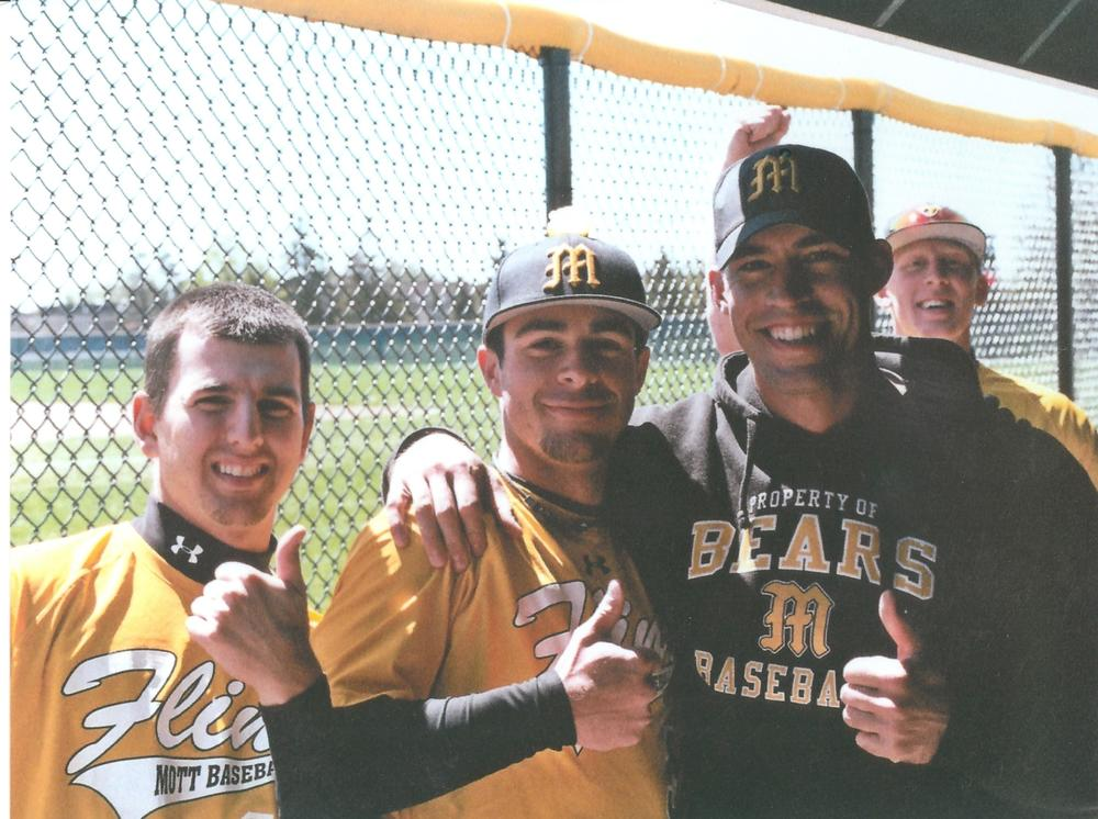 Mott Bears Baseball 2010-11, with current assistant Roger Christensen in the middle.