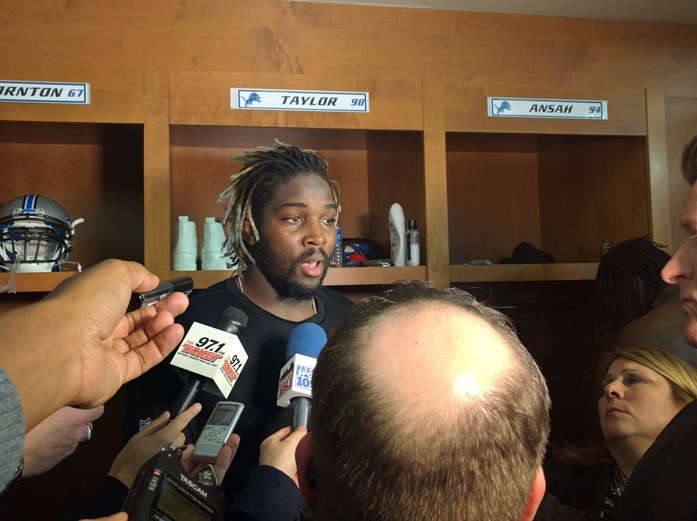 #98 DE Devin Taylor talking to the media after Detroit's loss to Green Bay