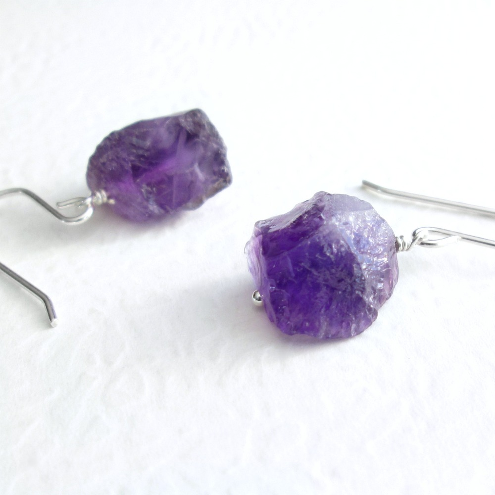 stud pendant february products gold earrings birthstone handmade raw rose the gem maker small amethyst stone