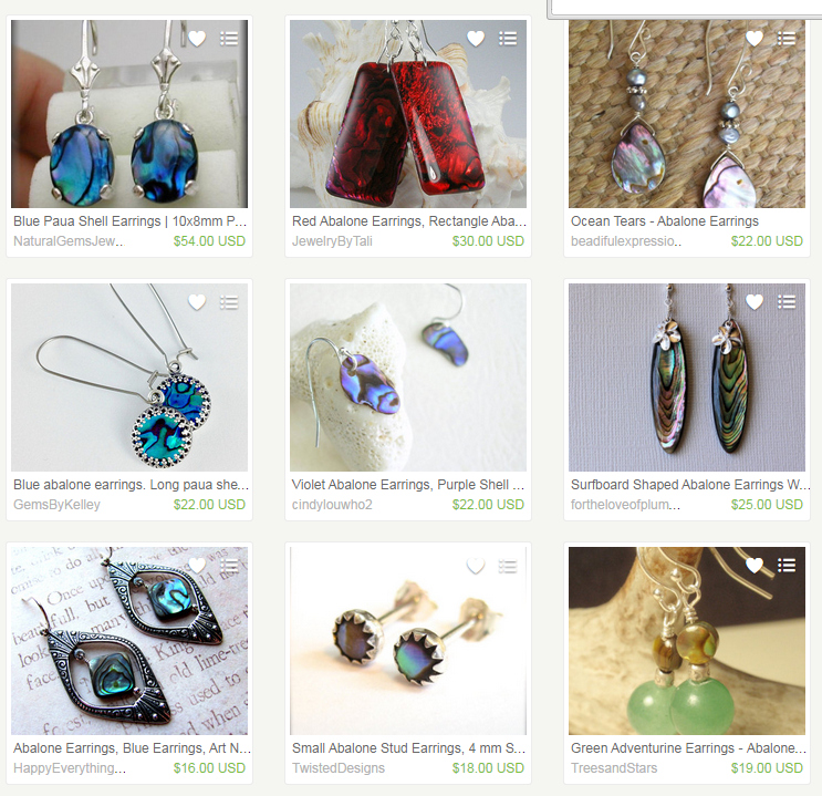 Abalone earrings search, Chrome, logged in