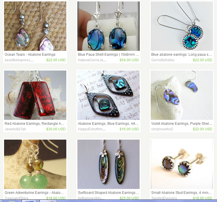 Abalone earrings search, FireFox, logged in