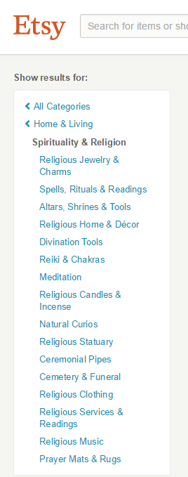 Spiritual Items (& a few not automatically spiritual) are now under Home & Living