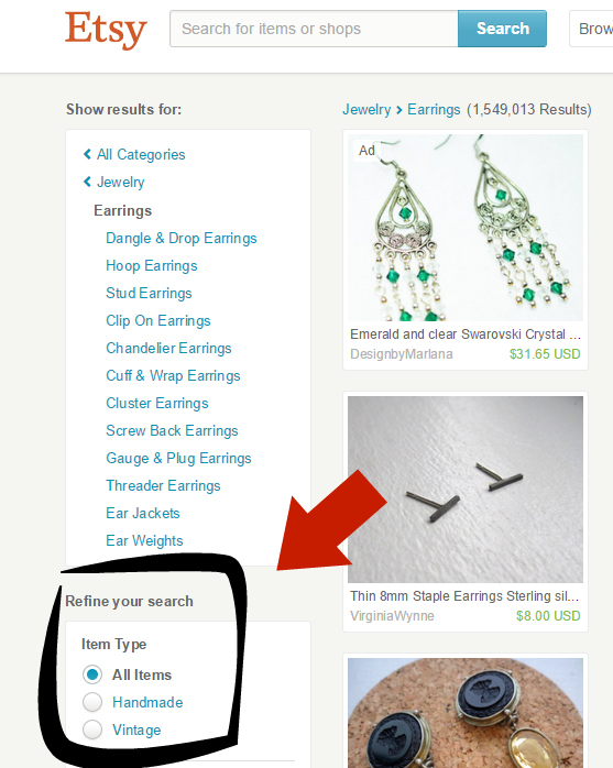 Buyers can now filter searches by handmade or vintage, to replace searching within those categories.