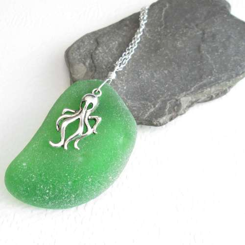 Silver octopus necklace green sea glass pendant large cindylouwho2 silver octopus necklace green sea glass pendant large aloadofball Choice Image