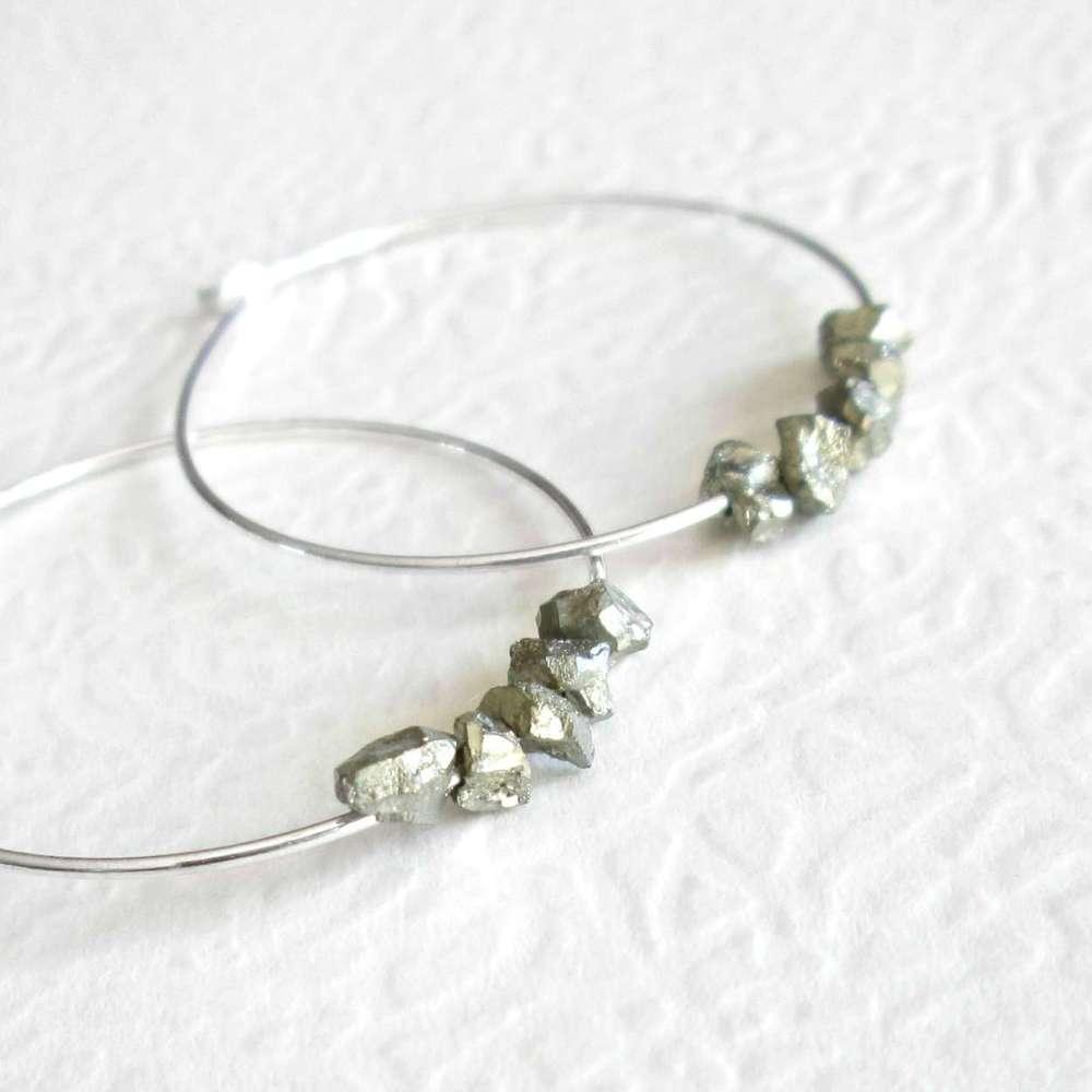 Pyrite Hoop Earrings