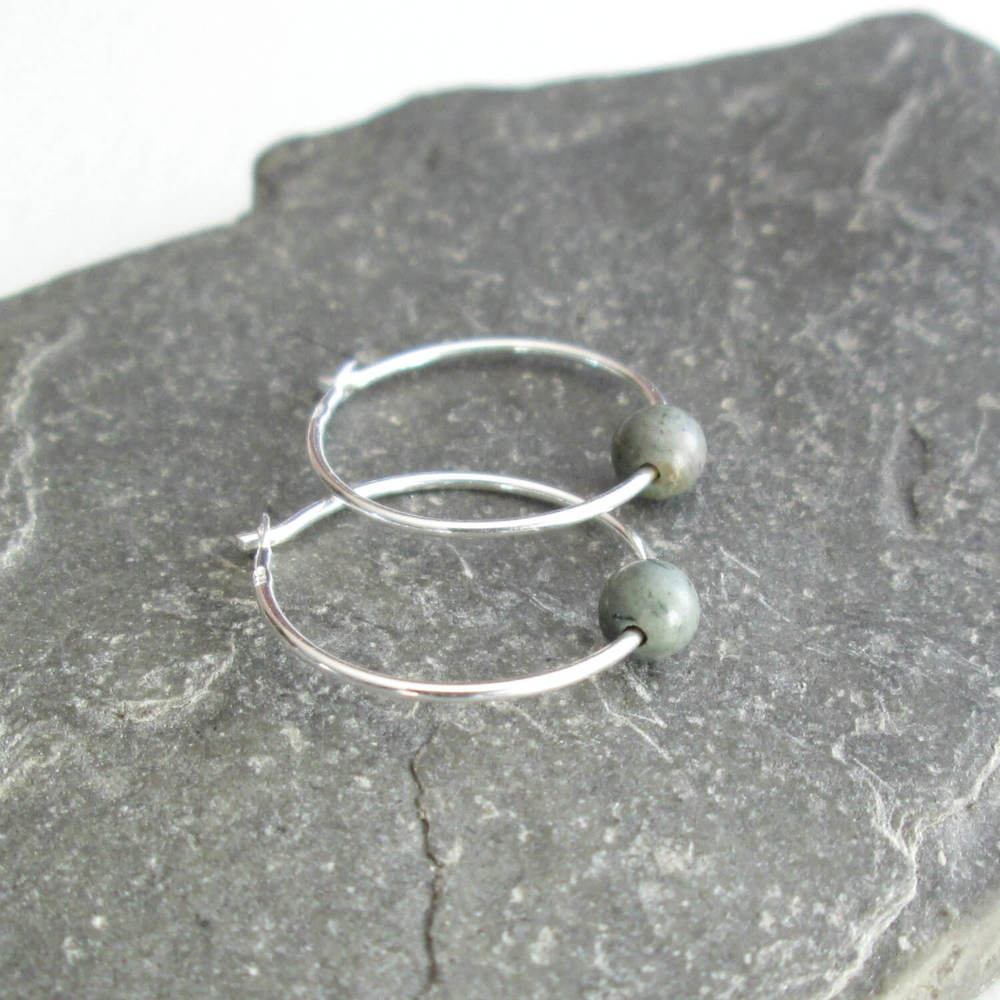 Dinosaur Coprolite Hoop Earrings, Sterling Silver