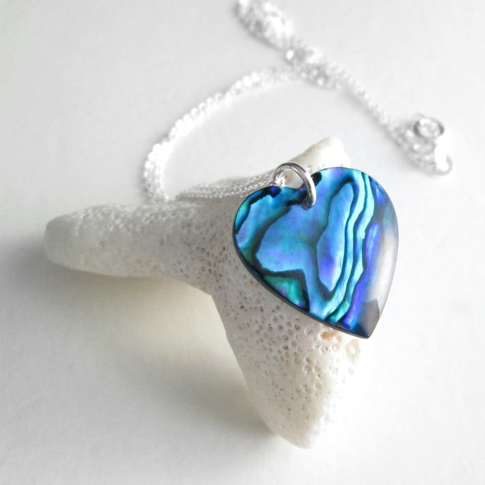 Blue Abalone Heart Necklace