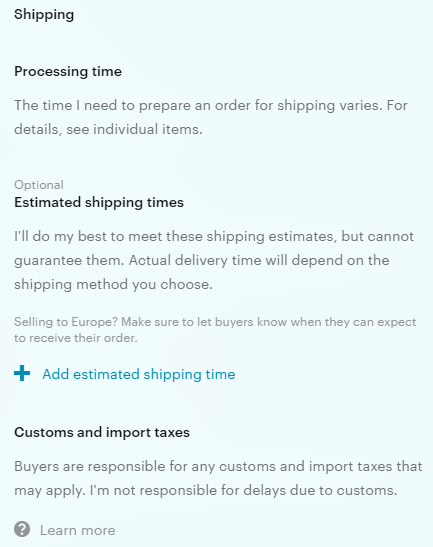 "A screenshot of part of the new ""simplified"" policy template. Existing shops may keep their pre-existing policies, but will not receive the small advantage in search that is being given to those who use Etsy's template."
