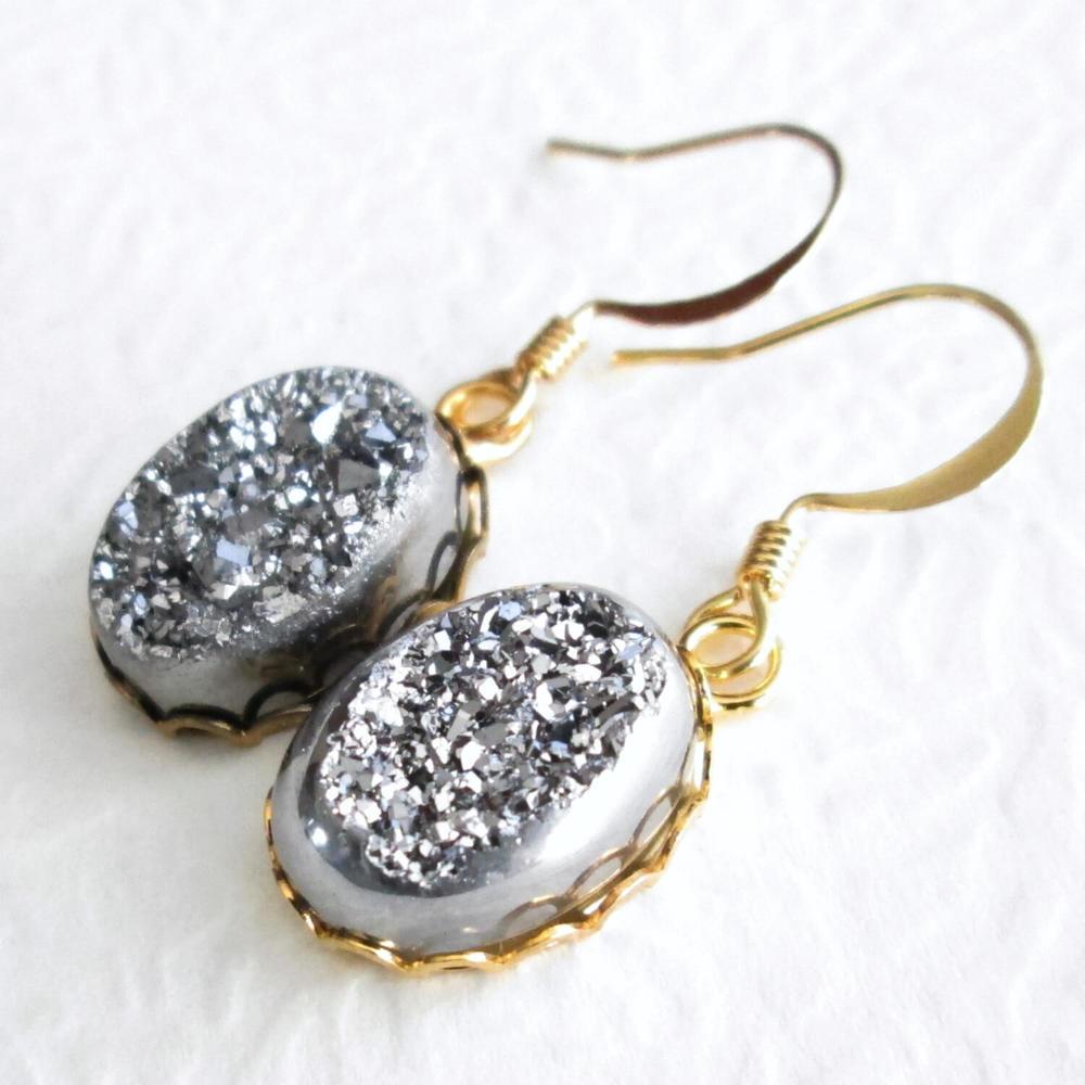 Silver Druzy Earrings, Metallic Titanium