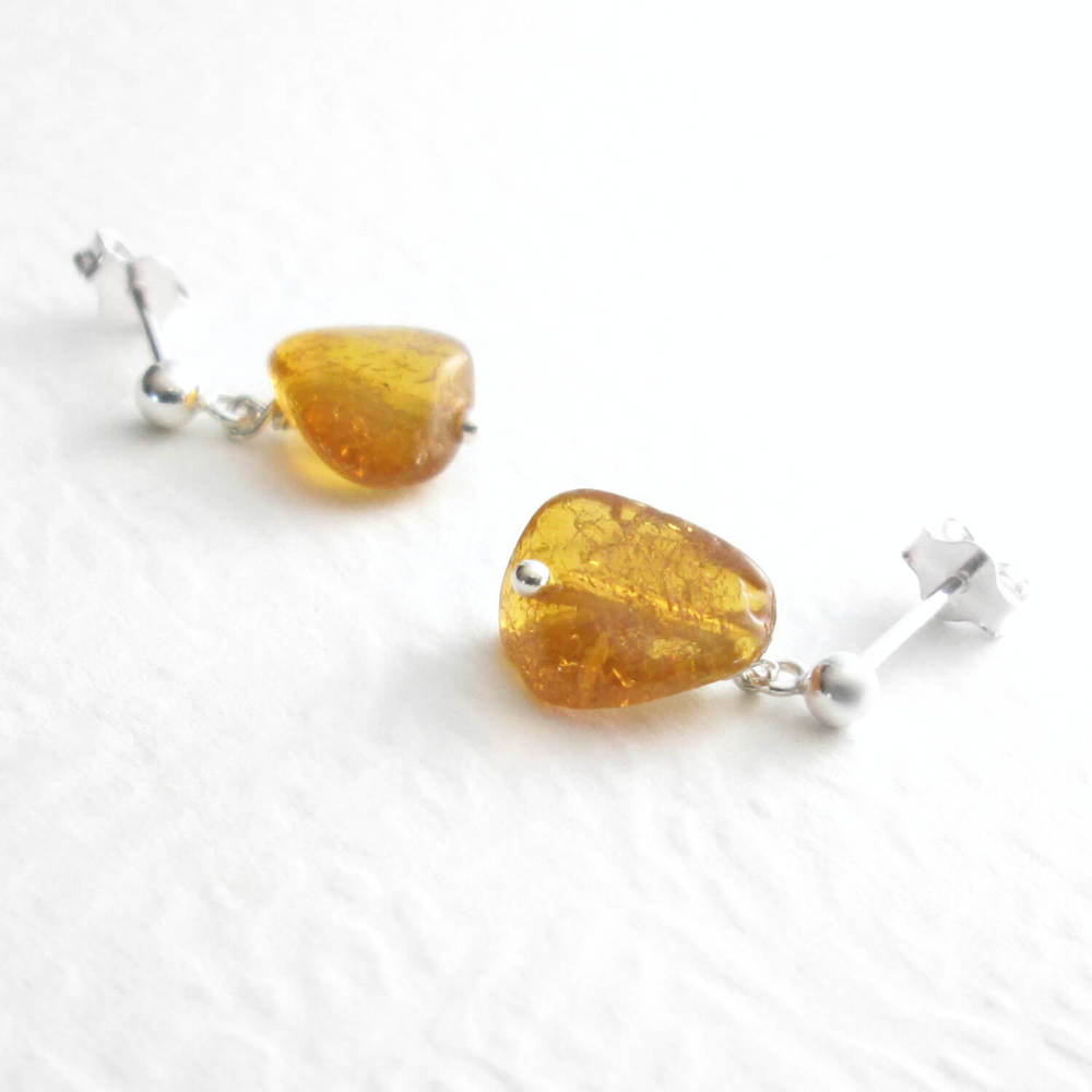 Natural Amber Earrings, Orange Nuggets