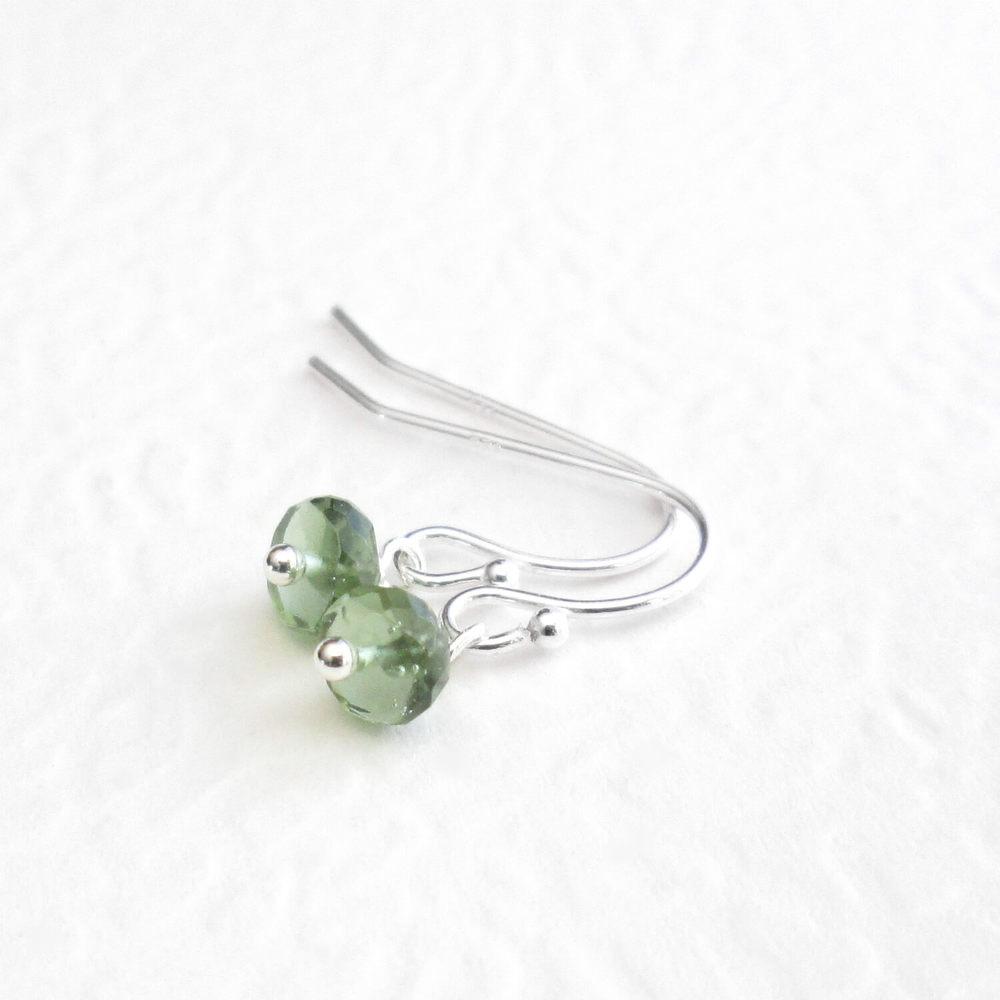 Green Moldavite Earrings