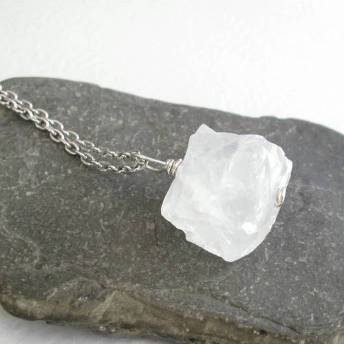 Raw quartz necklace chunky rock crystal pendant cindylouwho2 raw quartz necklace chunky rock crystal pendant aloadofball Gallery