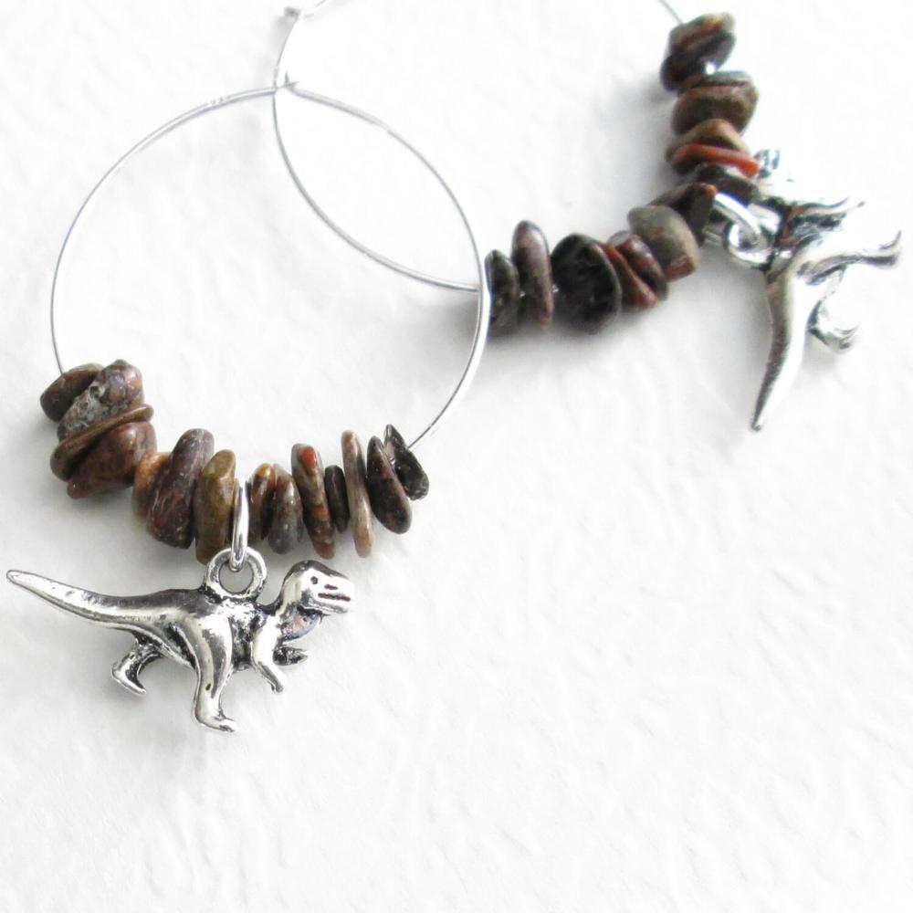 Dinosaur Hoop Earrings, T Rex & Brontosaurus