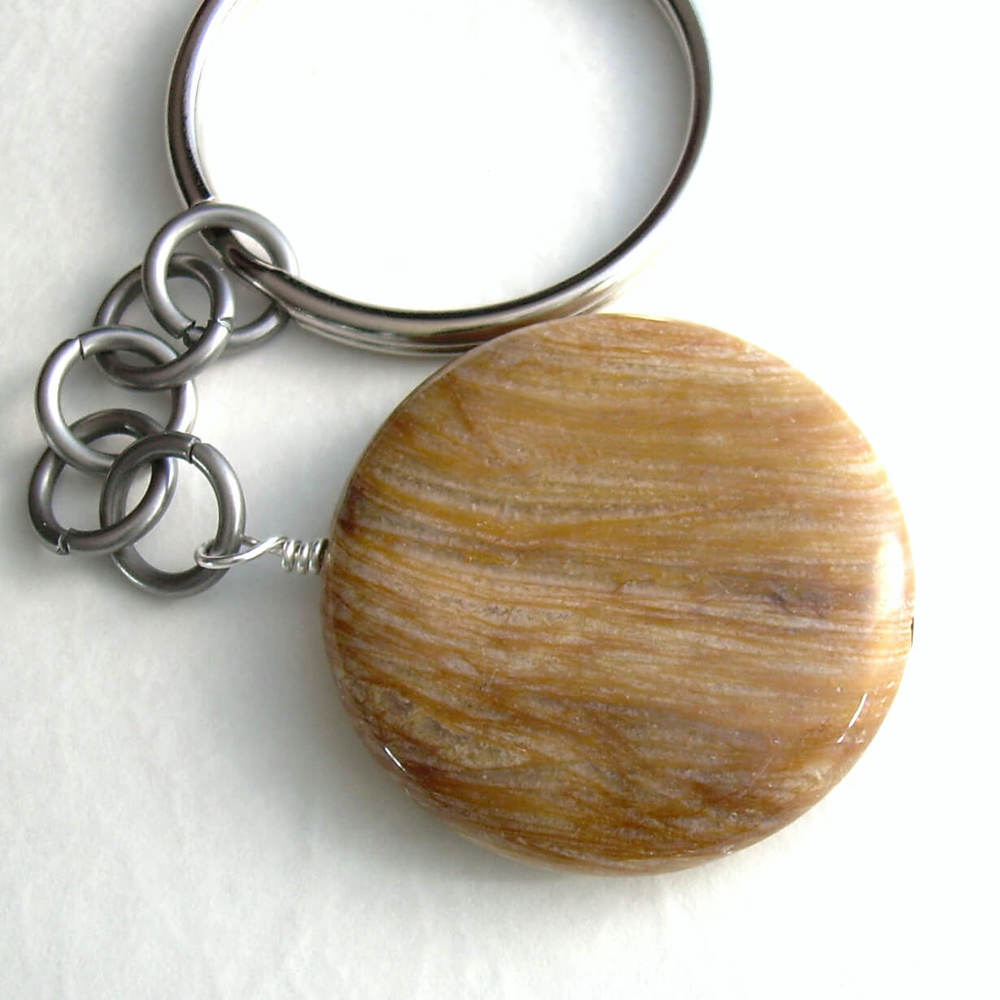 Fossilized Wood Key Chain, Petrified Tree Stone