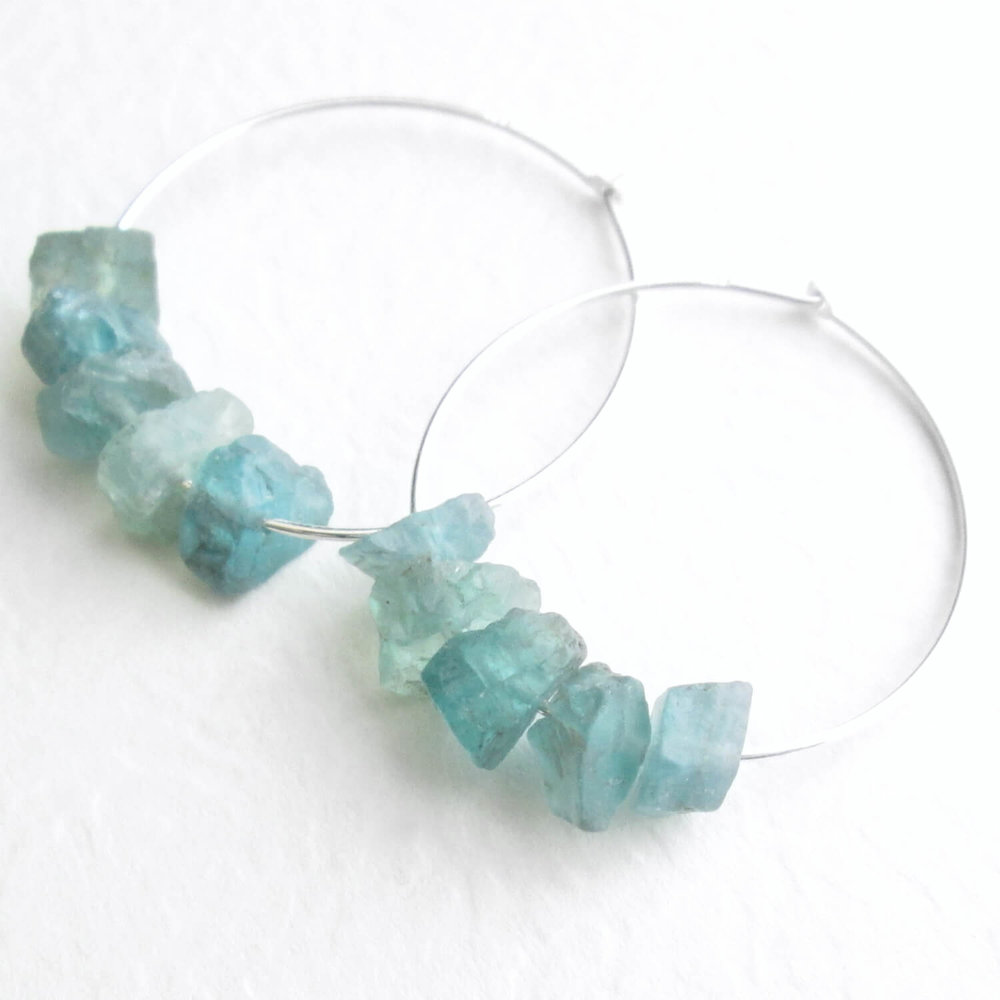 Raw Apatite Earrings, Sterling Silver Hoops