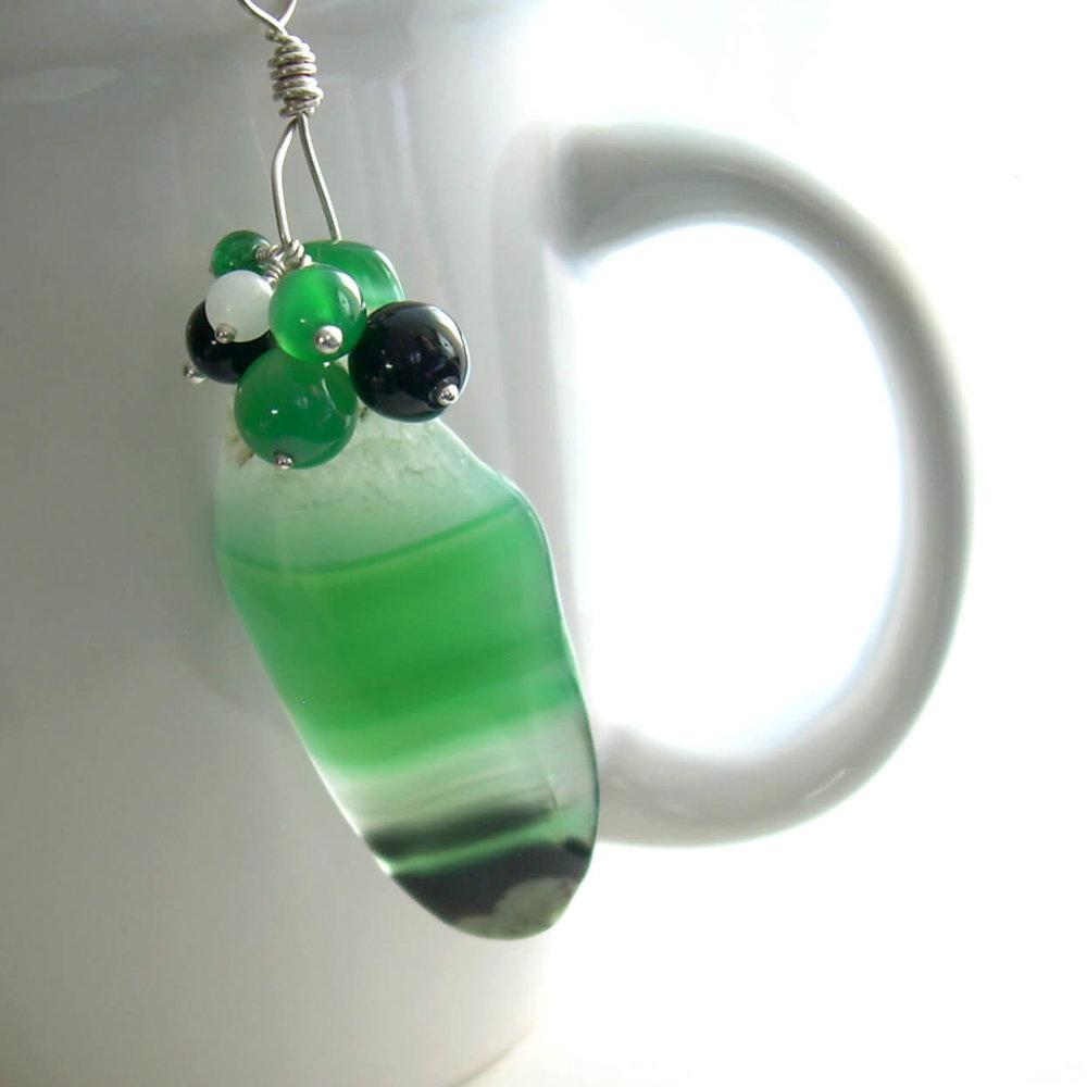 Emerald Green Agate Pendant, Black and White