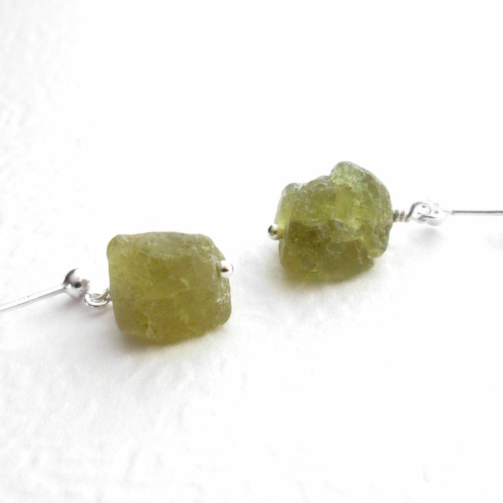 Raw Green Garnet Earrings, Uncut Grossular Gemstone, Sterling Silver
