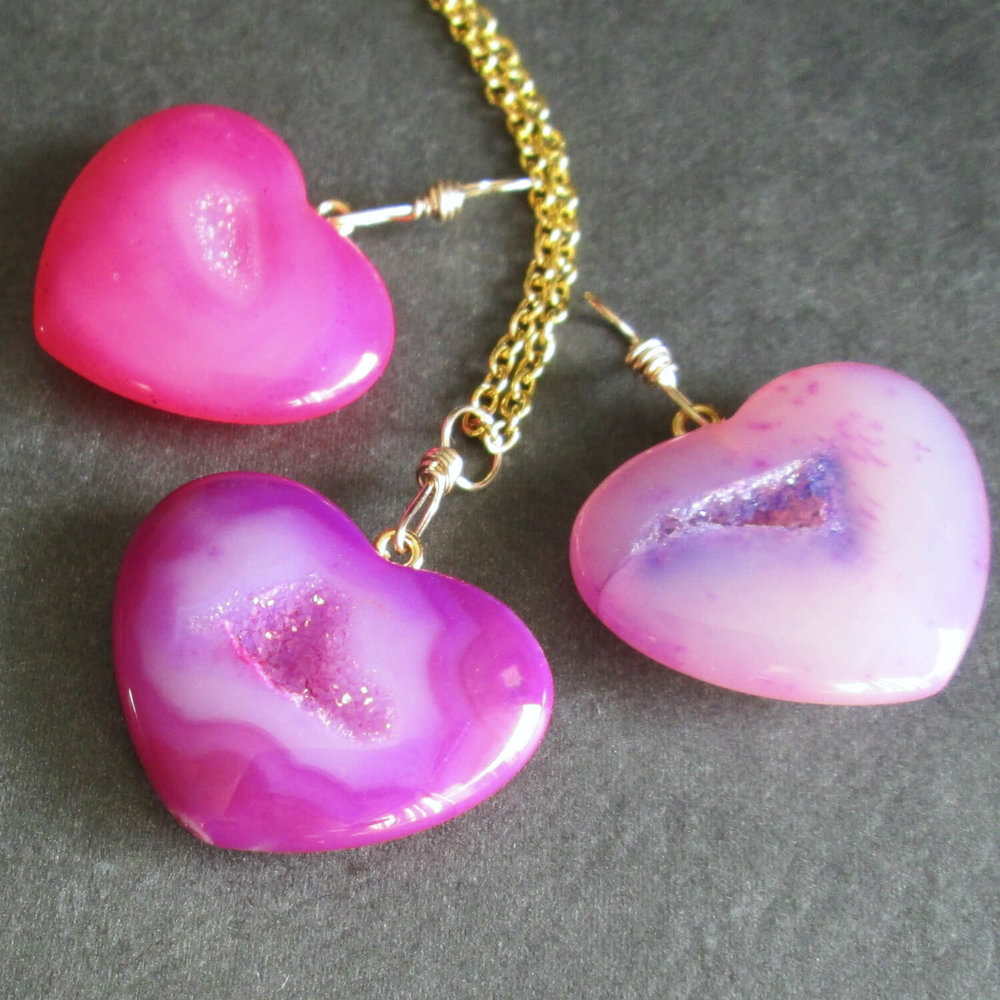 Pink Druzy Heart Necklace