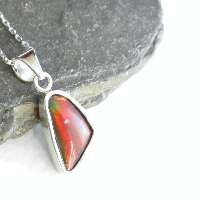 dfcaaa0fbdbaf0 Canadian Ammolite Pendant: Rainbow Gemstone, Silver Fossil Jewelry ...