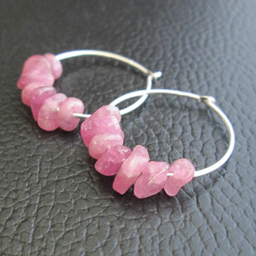 Pink Tourmaline Hoop Earrings, Stone Chips, Sterling Silver 6 (1).jpg
