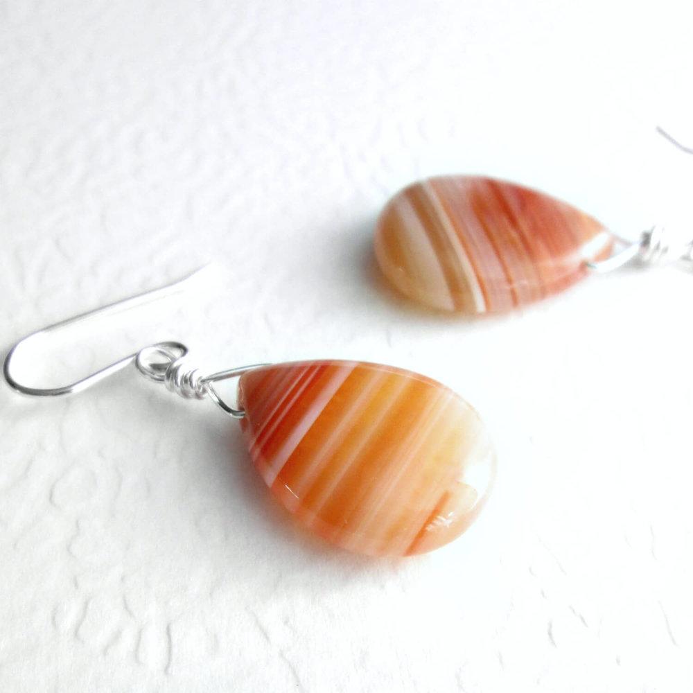 Orange Agate Drop Earrings