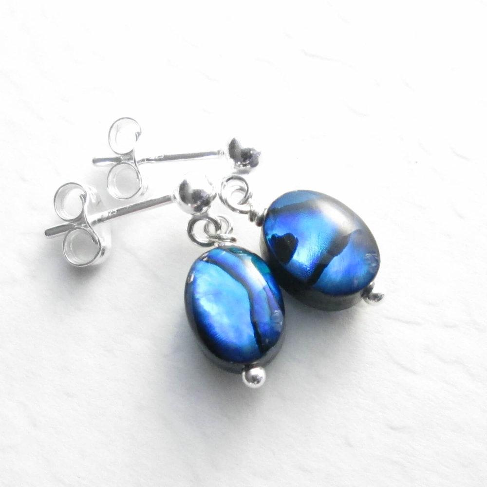 Small Blue Abalone Earrings