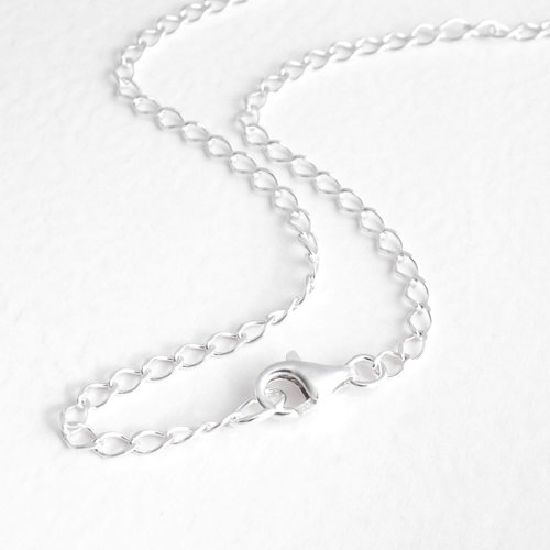necklace in curb cuban silver chain gauge lengths available products sterling
