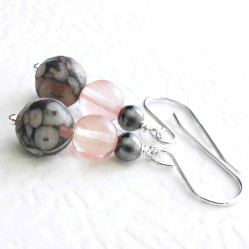 Fossil Crinoid Earrings, Hematite & Glass