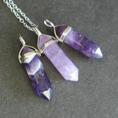 Amethyst point necklace purple crystal pendant gold chain amethyst point necklace purple crystal pendant gold chain aloadofball Choice Image
