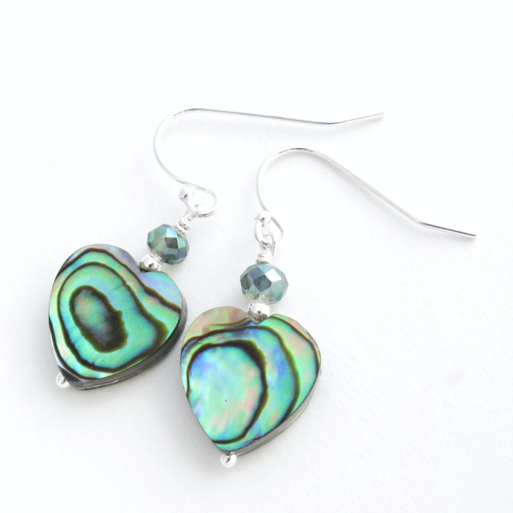 Green Shell Heart Earrings, Sparkling Crystals