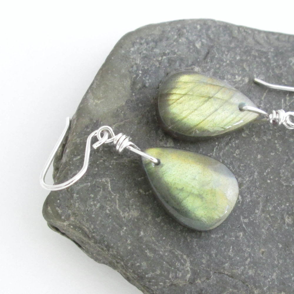 Yellow & Green Labradorite Earrings