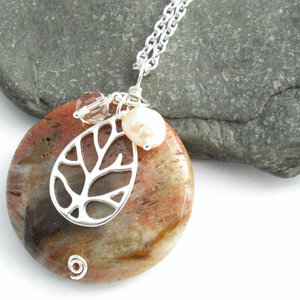 Necklaces pendants by cindylouwho2 cindylouwho2 round fossil wood pendant sterling silver tree charm freshwater pearl swarovski crystal 1 aloadofball Image collections