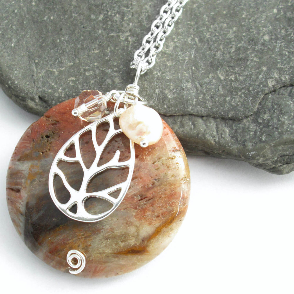 Round Fossil Wood Pendant