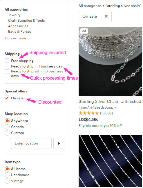 So many new options for shoppers who want Etsy to be Amazon!