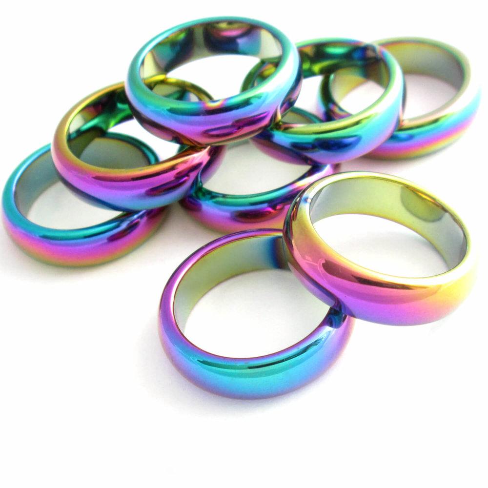 Rainbow Hematite Rings, Stone Bands