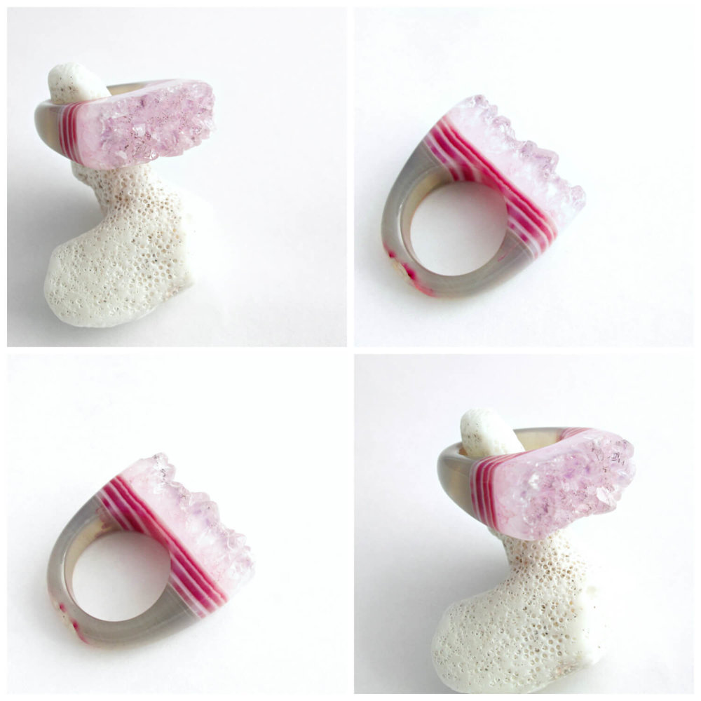 e592dc7543f Pink Druzy Rings