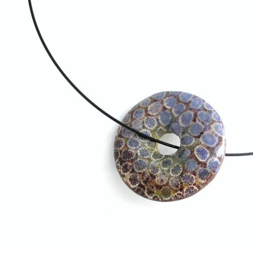 Agatized coral stone pendant blue fossil donut necklace cindylouwho2 agatized coral stone pendant blue fossil donut necklace aloadofball Image collections