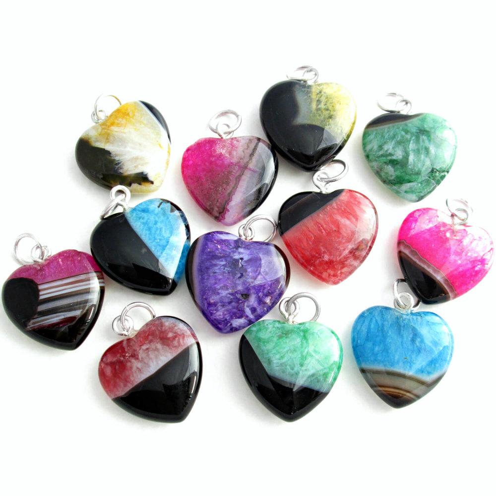 Agate & Quartz Heart Pendants