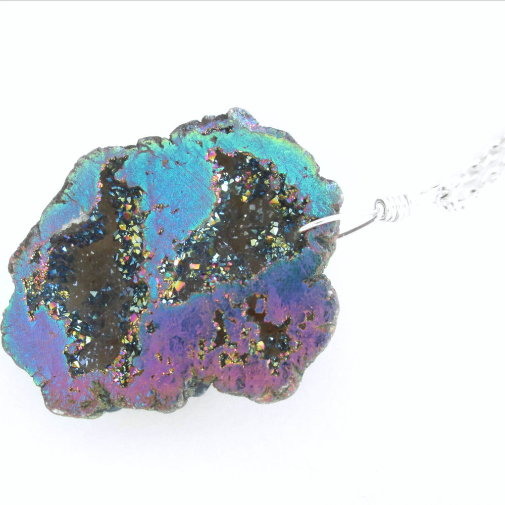 Rainbow Druzy Pendant, Raw Crystal Quartz