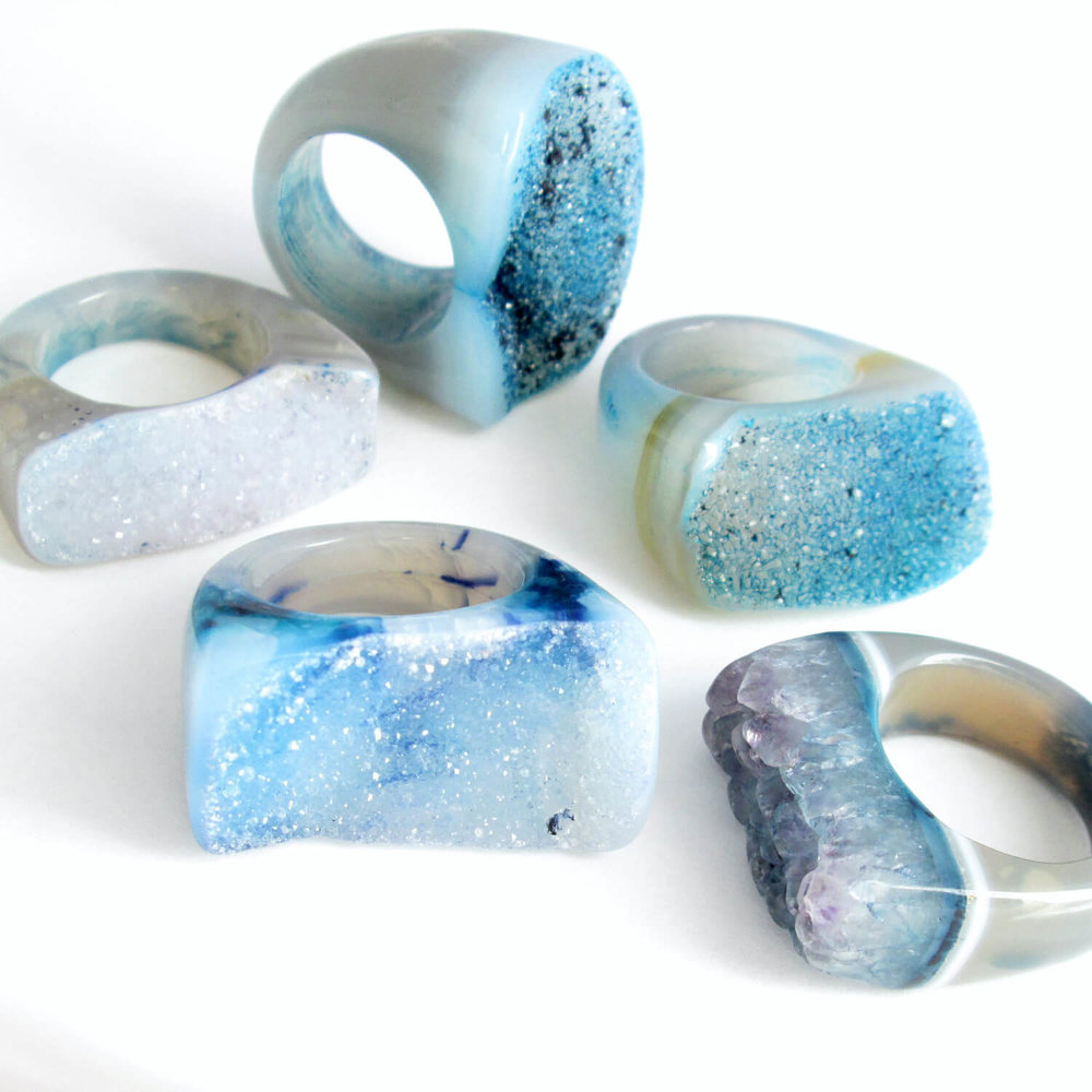 Big Blue Druzy Rings, Real Agate Geodes