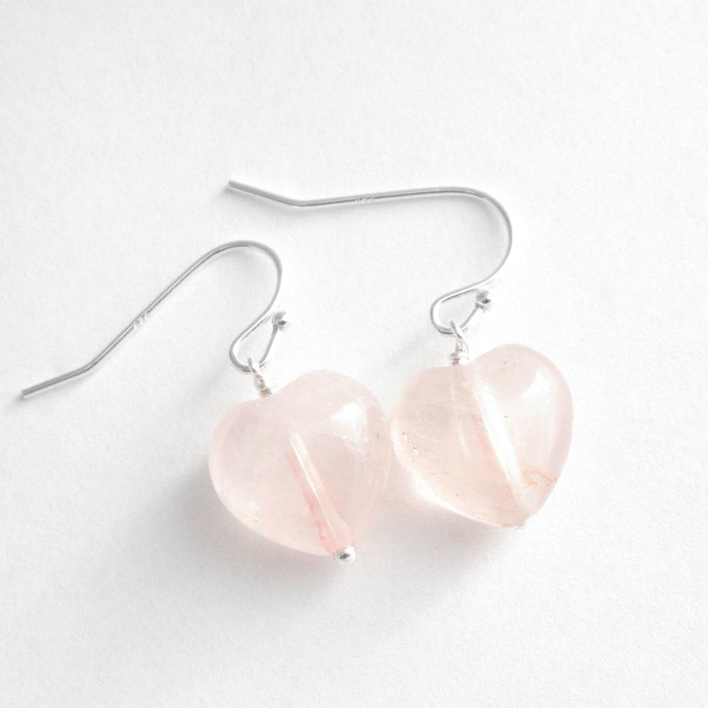 Rose Quartz Heart Earrings