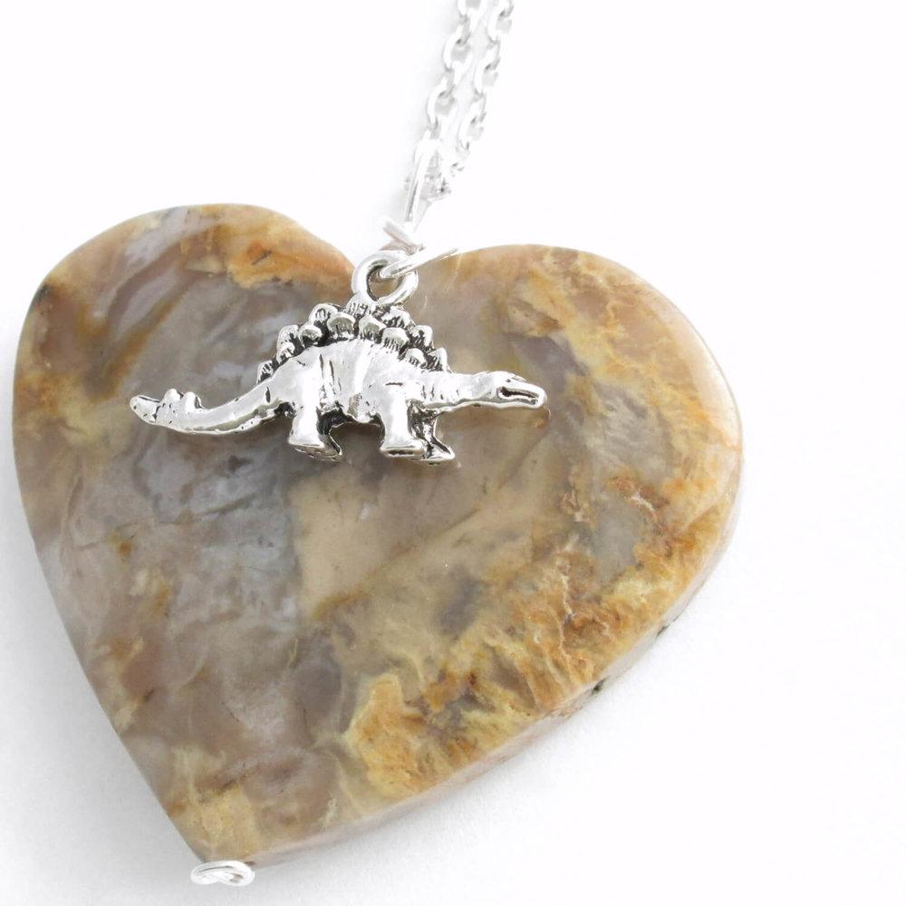 Dinosaur Coprolite Heart Pendant