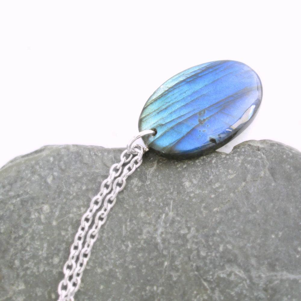 Oval Blue Labradorite Pendant, Gold Flash