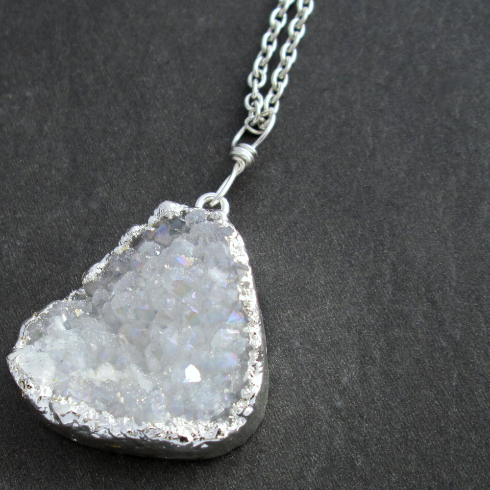 White Druzy Quartz Necklace, Electroplated in Silver
