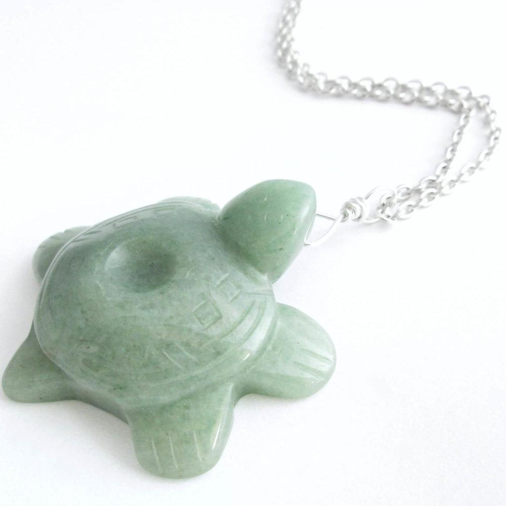 Sea Turtle Pendant, Green Aventurine